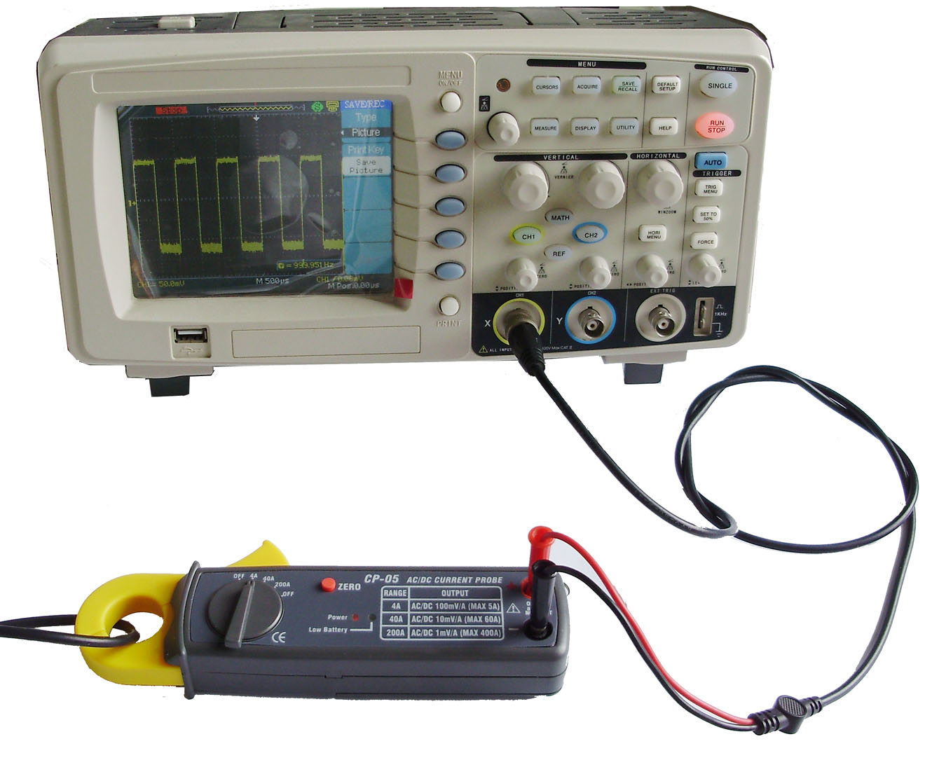 Oscilloscope Current Probe : Cp dc ac clamp current probe a khz tr o us mm